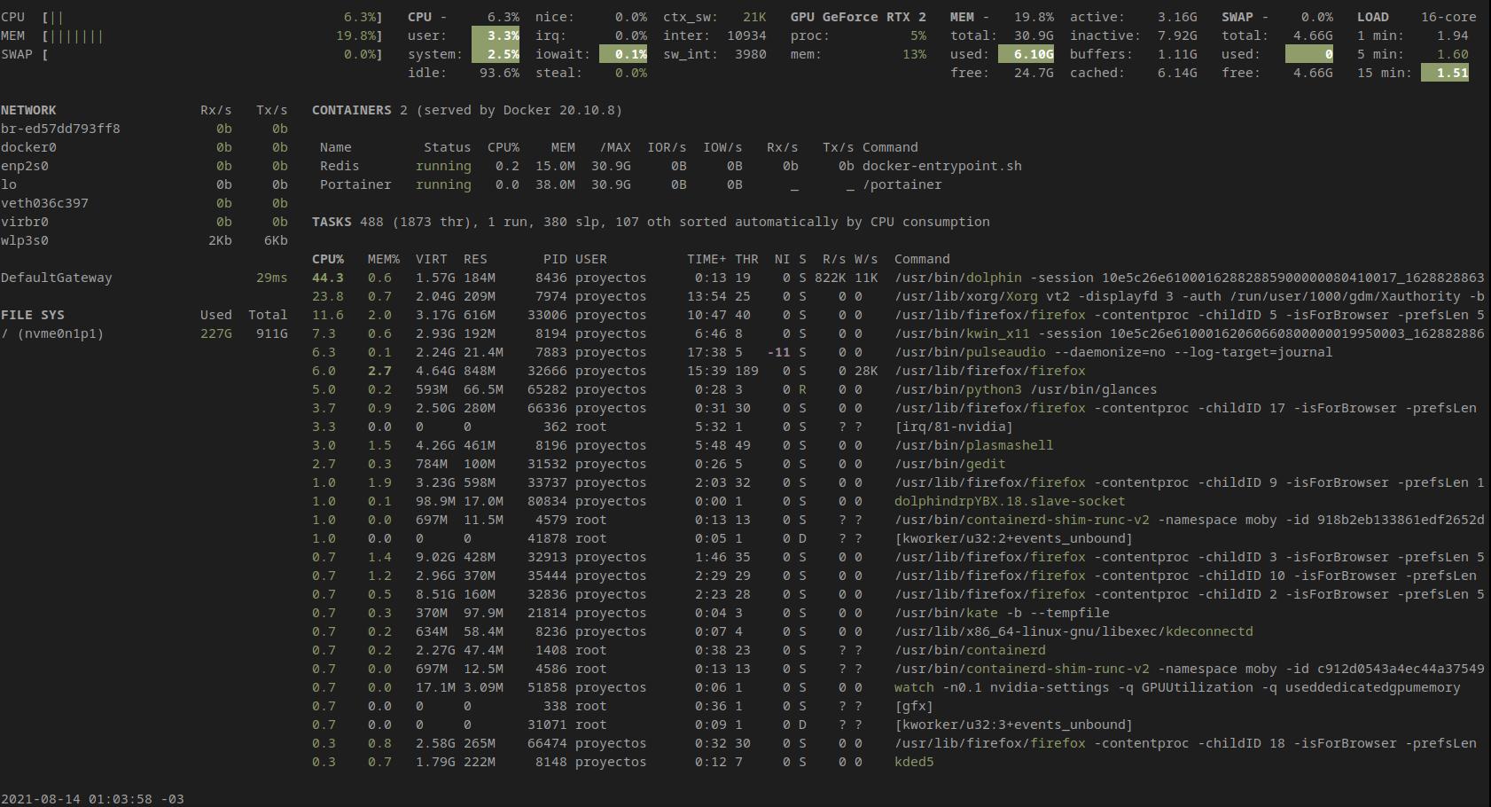 Glances Ubuntu Focal Fossa 20.04 LTS - terminal