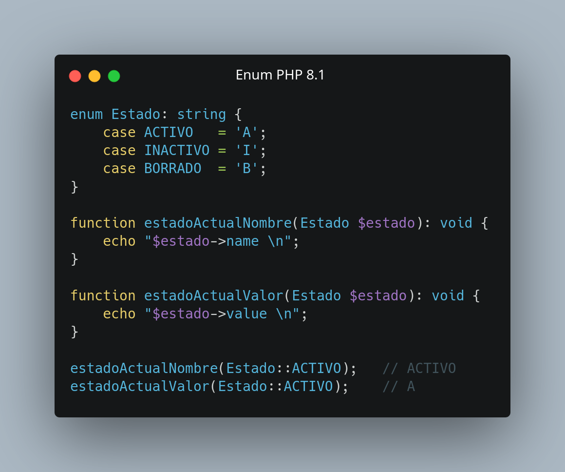 Enums en PHP-8.1